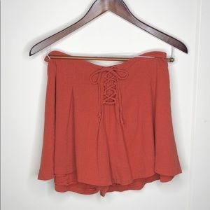 LUSH Burnt Orange Linen High-Waisted Shorts